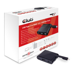 CLUB3D, DOCKING STATION MINI, MINI USB 3.0 TYPE C, USB TYPE C 3.0 TO HDMI 2.0 + USB TYPE A 2.0 + USB TYPE C CHARGING