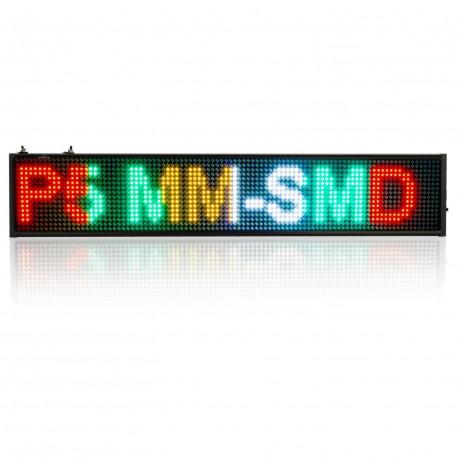 INSEGNA LED P5 RGB WI-FI LUMINOSA MULTI COLORE SCORREVOLE PROGRAMMABILE PANNELLO 100CM X 20CM X 5CM