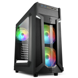 SHARKOON CASE VG6-W RGB, ATX, 2XUSB2, 2XUSB3, 6 SLOTS, 2X120 LED FRONT 1X120 REAR, WINDOW ACRILIC, RGB COLOR